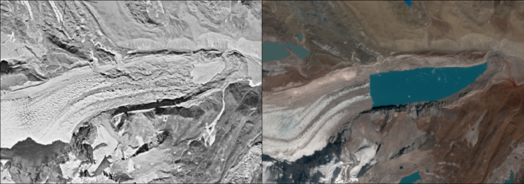 Significant retreat of a glacier and growth of its proglacial lake