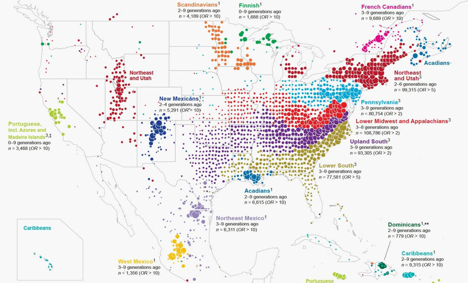 ancestral birth locations in North America